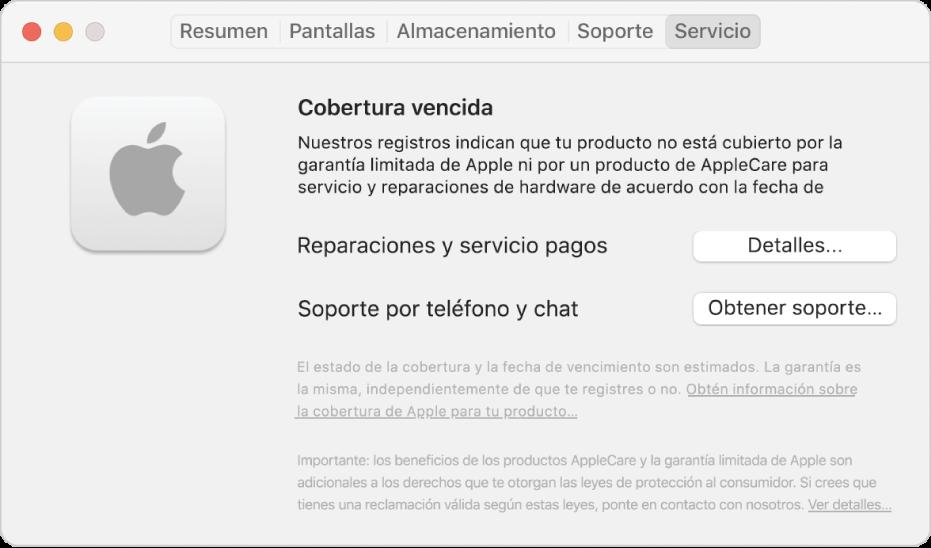 """El panel Servicio en Información del sistema. El panel muestra que la Mac ya no tiene garantía limitada. Los botones Detalles y """"Obtener soporte"""" están a la derecha."""