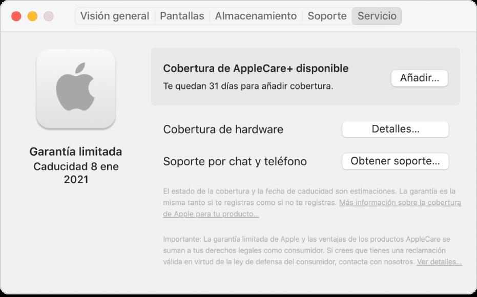 """El panel Servicio del cuadro """"Información del Sistema"""". El panel indica que el Mac está cubierto por la garantía limitada y puede adquirir la cobertura de AppleCare+. En la parte derecha aparecen los botones Añadir, Detalles y """"Obtener soporte""""."""