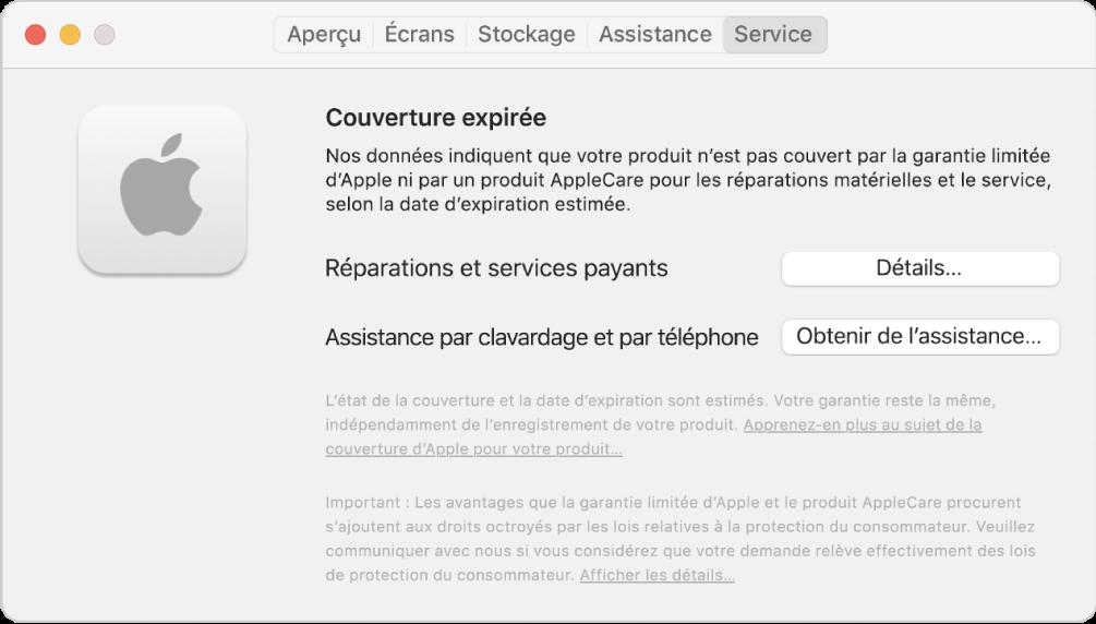 Le sous-fenêtre Service dans Informations système. Le sous-fenêtre indique que le Mac n'est plus couvert par une garantie limitée. Les boutons Détails et Obtenir de I'assistance se trouvent à droite.