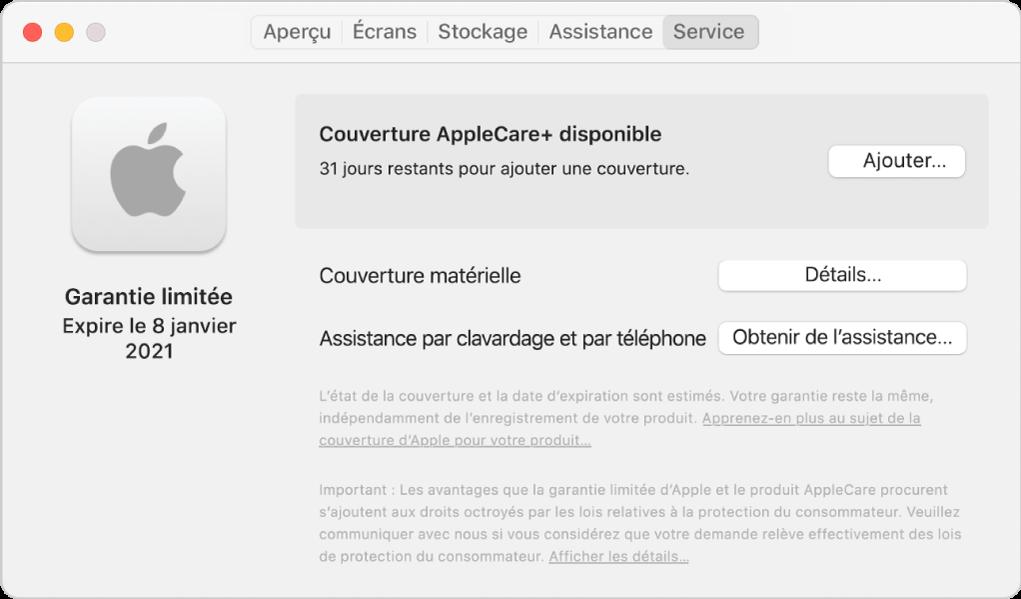Le sous-fenêtre Service dans Informations système. Le sous-fenêtre indique que le Mac est couvert par une garantie limitée et est admissible à AppleCare+. Les boutons Ajouter, Détails et Obtenir de I'assistance se trouvent à droite.