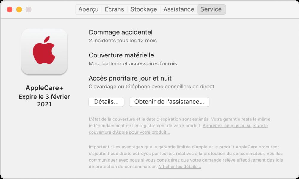 Le sous-fenêtre Service dans Informations système. Le sous-fenêtre indique que le Mac est couvert par AppleCare+. Les boutons Détails et Obtenir de I'assistance se situent vers le bas.