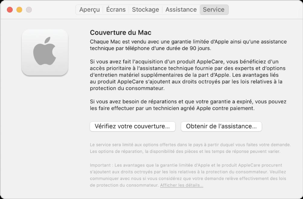 Le sous-fenêtre Service dans Informations système. Le sous-fenêtre affiche des informations sur la couverture de l'assistance technique Mac. Les boutons Vérifier votre couverture et Obtenir de I'assistance se situent vers le bas.
