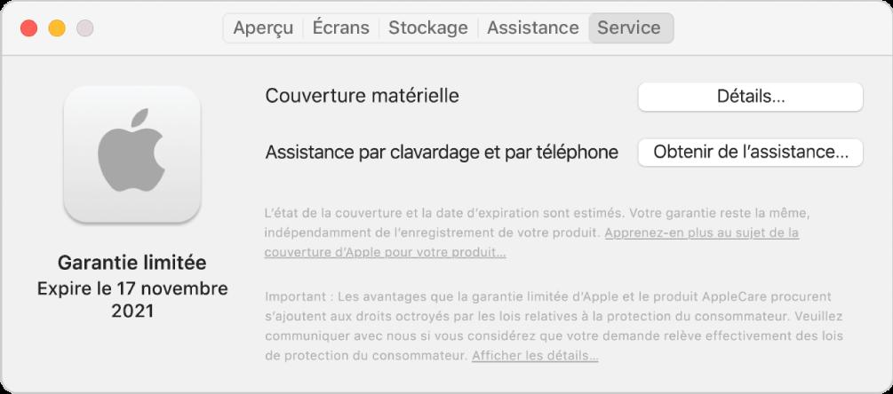 Le sous-fenêtre Service dans Informations système. Le sous-fenêtre indique que le Mac est couvert par une garantie limitée et affiche la date d'expiration. Les boutons Détails et Obtenir de I'assistance se trouvent à droite.