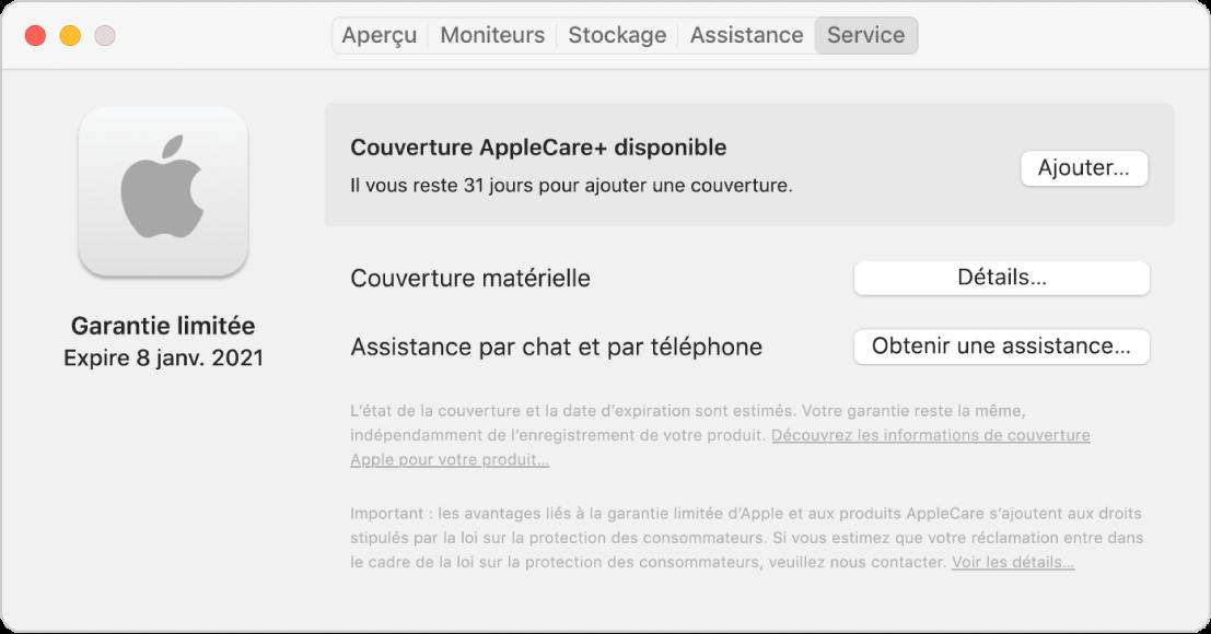 Sous-fenêtre Service dans «Informations système». La sous-fenêtre indique que le Mac est couvert par une garantie limitée et qu'il est éligible à la couverture AppleCare+. Les boutons Ajouter, Détails et Obtenir de l'assistance sont à droite.