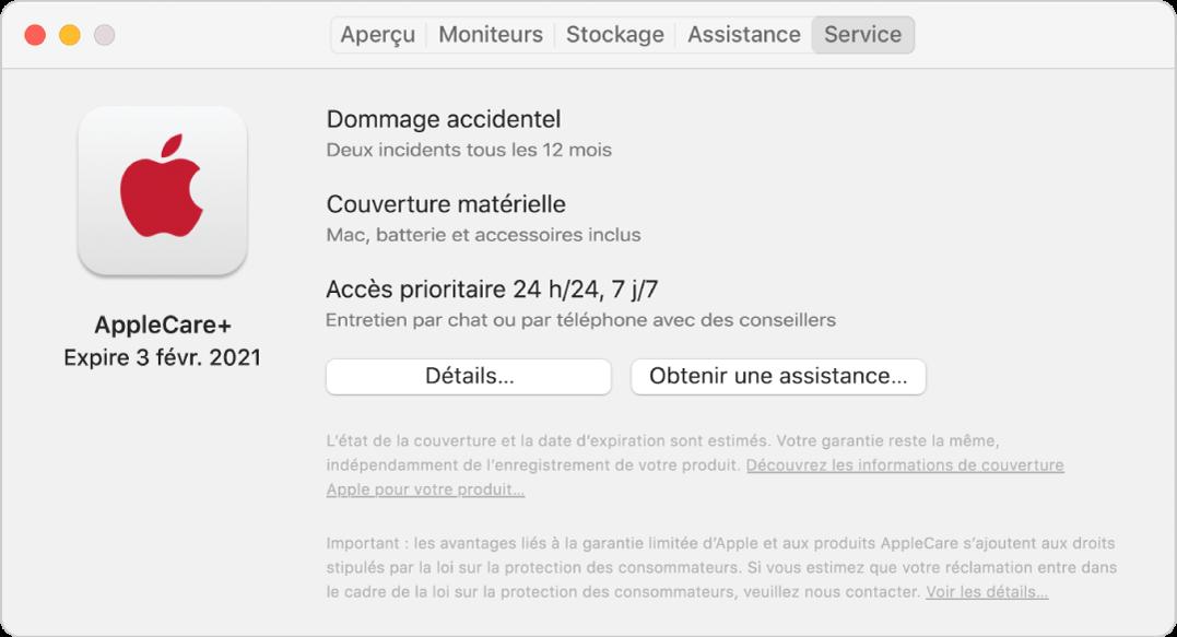 Sous-fenêtre Service dans «Informations système». La sous-fenêtre indique que le Mac bénéficie de la couverture AppleCare+. Les boutons Détails et Obtenir de l'assistance se trouvent vers le bas.