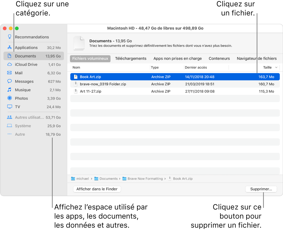 Triez les catégories de fichier pour afficher l'espace utilisé, pour rechercher des fichiers et pour supprimer les fichiers dont vous n'avez plus besoin.