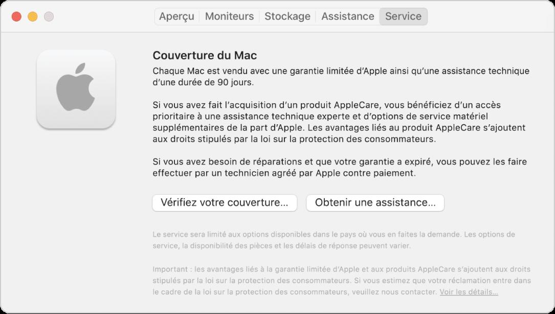 Sous-fenêtre Service dans «Informations système». La sous-fenêtre affiche des informations concernant la couverture du Mac en matière d'assistance technique. Les boutons Vérifiez votre couverture et Obtenir de l'assistance se trouvent vers le bas.
