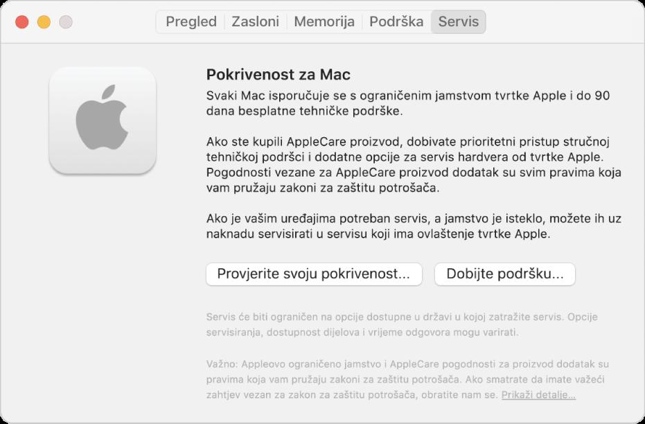 Prozor Usluga u Informacijama o sustavu. Prozor prikazuje informacije o pokrivenosti tehničke podrške za Mac. Tipke Provjerite pokrivenost i Ostvarite korisničku podršku nalaze se pri dnu.
