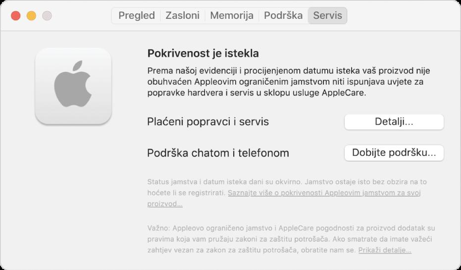 Prozor Usluga u Informacijama o sustavu. Prozor prikazuje da Mac više nije pokriven Ograničenim jamstvom. Tipke Detalji i Ostvarite korisničku podršku nalaze se s desne strane.