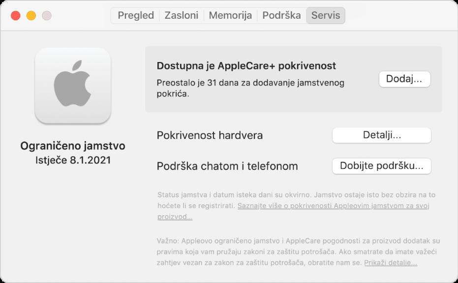 Prozor Usluga u Informacijama o sustavu. Prozor prikazuje da je Mac pokriven Ograničenim jamstvom i može dobiti uslugu AppleCare+. Tipke Dodaj, Detalji i Ostvarite korisničku podršku nalaze se s desne strane.