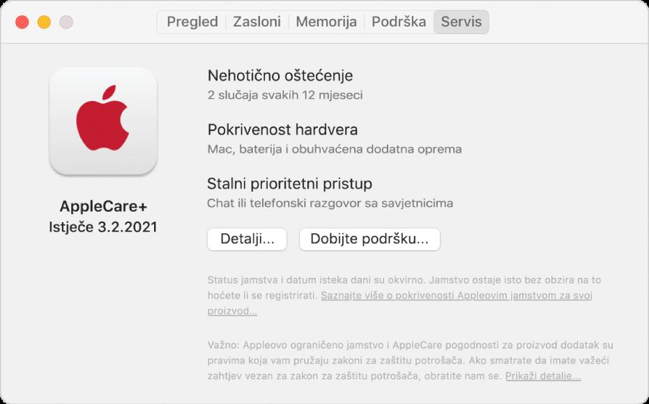 Prozor Usluga u Informacijama o sustavu. Prozor prikazuje da je Mac pokriven uslugom AppleCare+. Tipke Detalji i Ostvarite korisničku podršku nalaze se pri dnu.