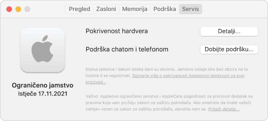 Prozor Usluga u Informacijama o sustavu. Prozor prikazuje da je Mac pokriven ograničenim jamstvom te datum isteka. Tipke Detalji i Ostvarite korisničku podršku nalaze se s desne strane.