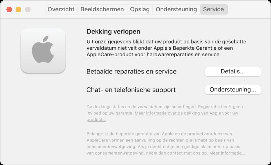 Het paneel 'Service' in Systeeminformatie. Er wordt aangegeven dat de Mac niet meer onder de beperkte garantie valt. Rechts staan de knoppen 'Details' en 'Ondersteuning'.