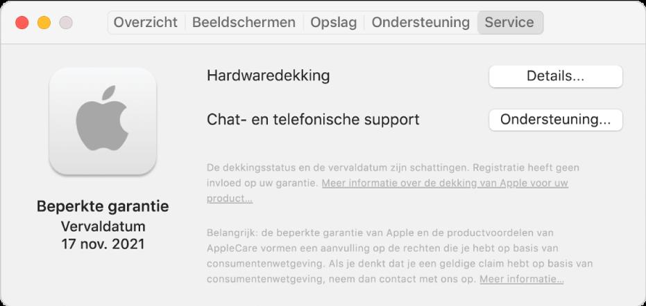 Het paneel 'Service' in Systeeminformatie. Er wordt aangegeven dat de Mac onder een beperkte garantie valt en wat de vervaldatum is. Rechts staan de knoppen 'Details' en 'Ondersteuning'.