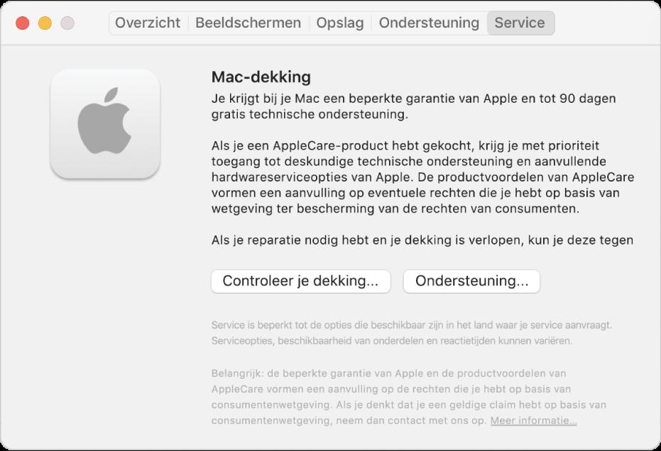 Het paneel 'Service' in Systeeminformatie. Het paneel bevat informatie over de dekking voor technische ondersteuning voor de Mac. Onderin staan de knoppen 'Controleer je dekking' en 'Ondersteuning'.
