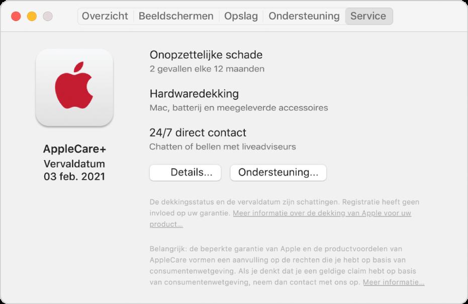 Het paneel 'Service' in Systeeminformatie. Er wordt aangegeven dat de Mac wordt gedekt door AppleCare+. Onderin staan de knoppen 'Details' en 'Ondersteuning'.