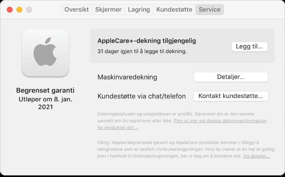 Service-panelet i Systeminformasjon. Panelet viser at Macen er dekket av den begrensede garantien og at den er kvalifisert for AppleCare+. Knappene Legg til, Detaljer og Kontakt kundestøtte vises til høyre.