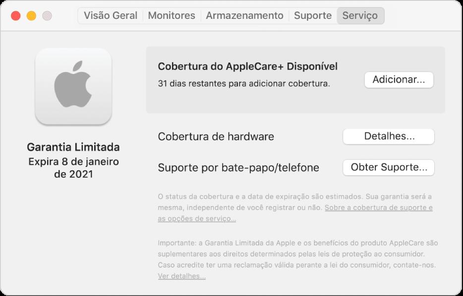 O painel Serviço em Informações do Sistema. O painel mostra que o Mac está coberto pela Garantia Limitada e está qualificado para o AppleCare+. Os botões Adicionar, Detalhes e Obter Suporte estão à direita.