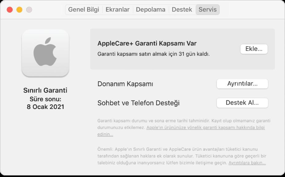 Sistem Bilgileri'ndeki Servis bölümü. Bölümde, Mac'in Sınırlı Garanti kapsamında ve AppleCare+ için uygun olduğu gösterilir. Ekle, Ayrıntılar ve Destek Al düğmeleri sağdadır.