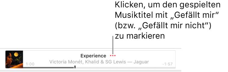 """Der obere Bereich von AppleMusic zeigt einen Musiktitel, der gerade zu hören ist. Klicke neben dem Musiktitel auf die Taste """"Mehr"""", um für den gerade gespielten Titel """"Favorit"""" oder """"Weniger solche Vorschläge"""" festzulegen."""