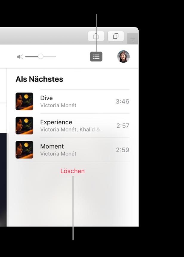 """Die Taste """"Als Nächstes"""" oben rechts in AppleMusic ist ausgewählt und die Warteliste """"Als Nächstes"""" ist sichtbar. Klicke auf den Link """"Löschen"""" unten in der Liste, um alle Titel aus der Liste zu entfernen."""