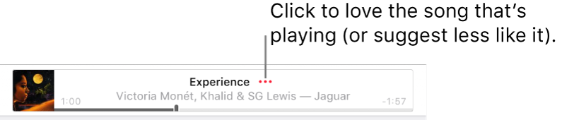 The top of Apple Music with a song playing. Click the More button next to the song title to love the song that's playing or suggest less like it.