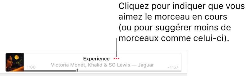 La partie supérieure d'AppleMusic avec un morceau en cours de lecture. Cliquez sur le bouton Plus en regard du titre du morceau pour aimer le morceau en cours de lecture ou pour que moins de morceaux similaires vous soient suggérés.