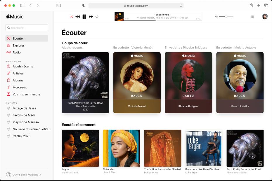 La fenêtre AppleMusic dans Safari, affichant la présentation Écouter.