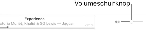 De volumeschuifknop rechtsboven op de AppleMusic-pagina.