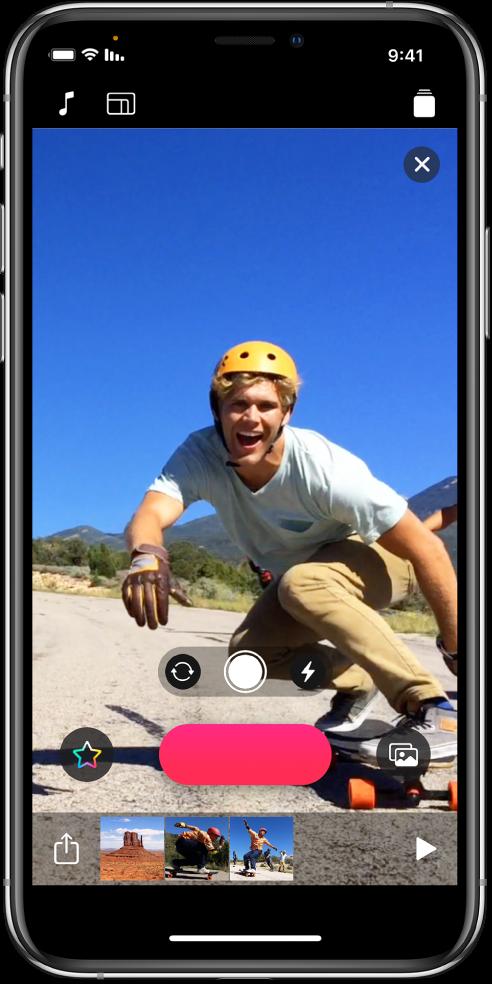 תמונת וידאו בחלון התצוגה ומתחתיו הכפתור ״הקלט״.