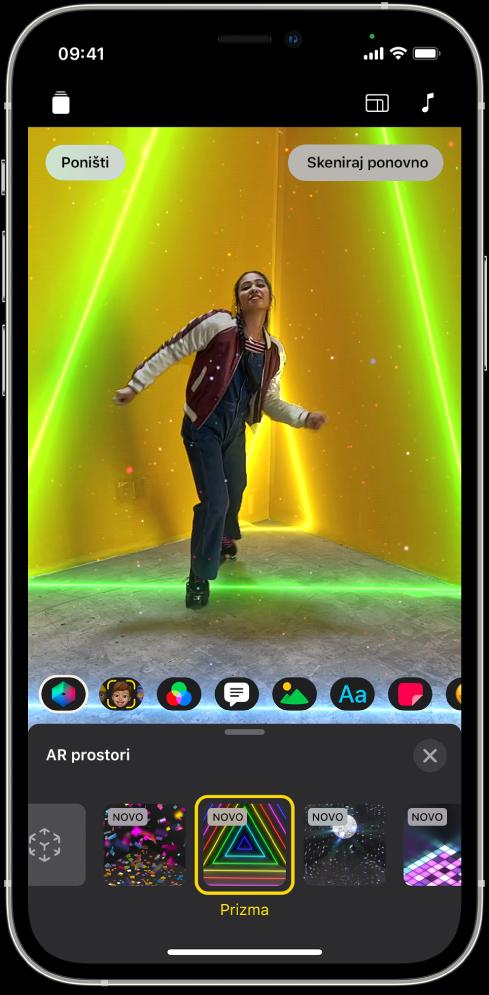 Slika videozapisa u pregledniku s odabranim AR prostorima.