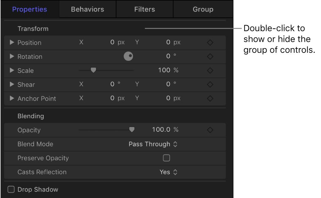 Informationsfenster mit einer geöffneten Gruppe von Parametersteuerelementen und einer geschlossenen Gruppe von Parametersteuerelementen