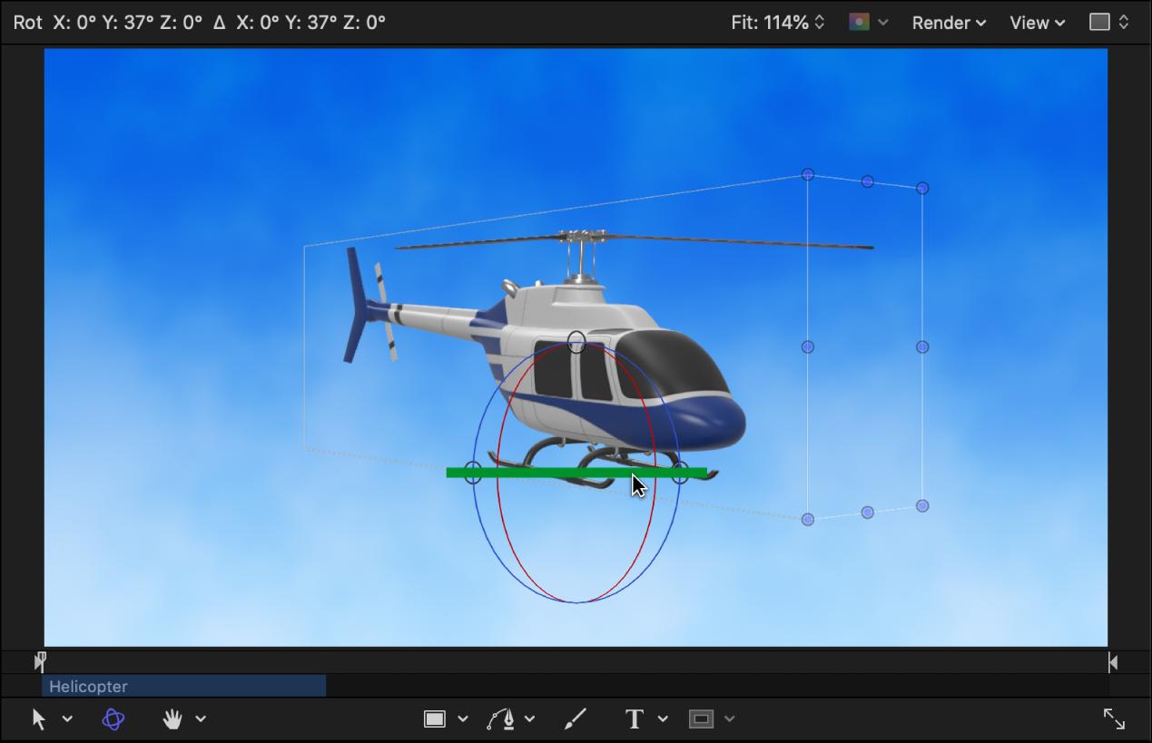 Wenn das Objekt im Canvas gedreht wird, werden die Seiten und Rotorblätter des Hubschrauberobjekts sichtbar.