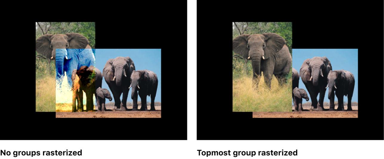 Canvas mit 2D-Gruppen vor und nach der Rasterung