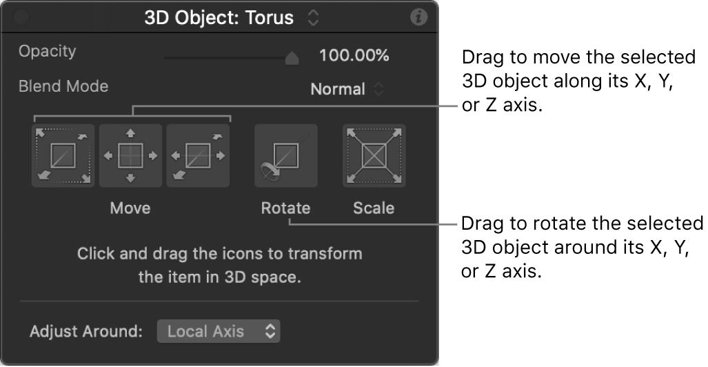 Schwebepalette mit 3D-Objekt und ausgewähltem Werkzeug für die 3D-Anpassung