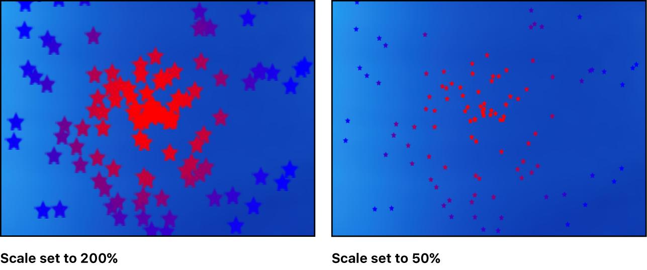 """Canvas mit dem Effekt des Parameters """"Skalieren"""""""