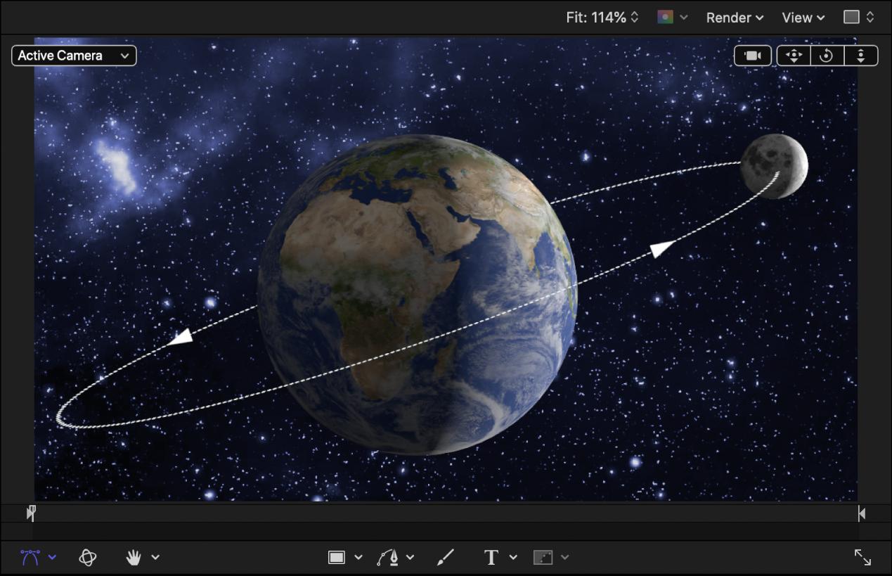 Erde und Mond als 3D-Objekte im Canvas