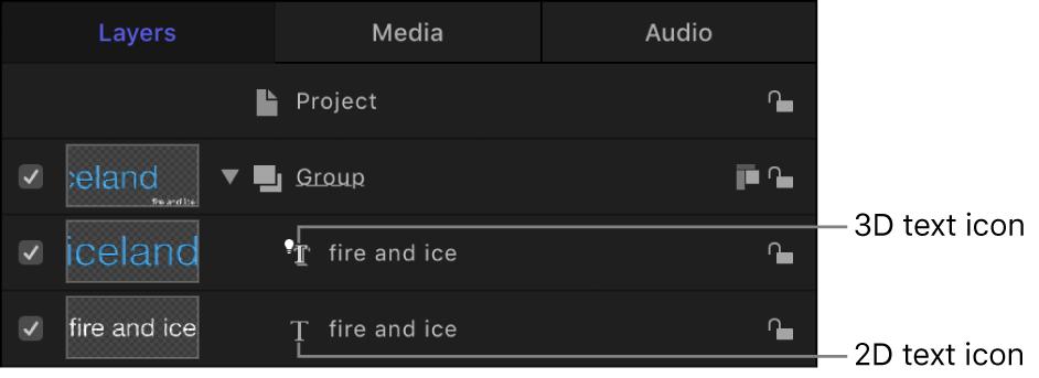 """Liste """"Ebenen"""" mit Symbol für 3D-Text"""