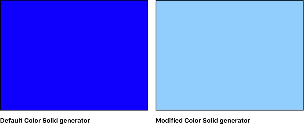 """Canvas mit dem Generator """"Einfarbig"""" und verschiedenen Einstellungen"""