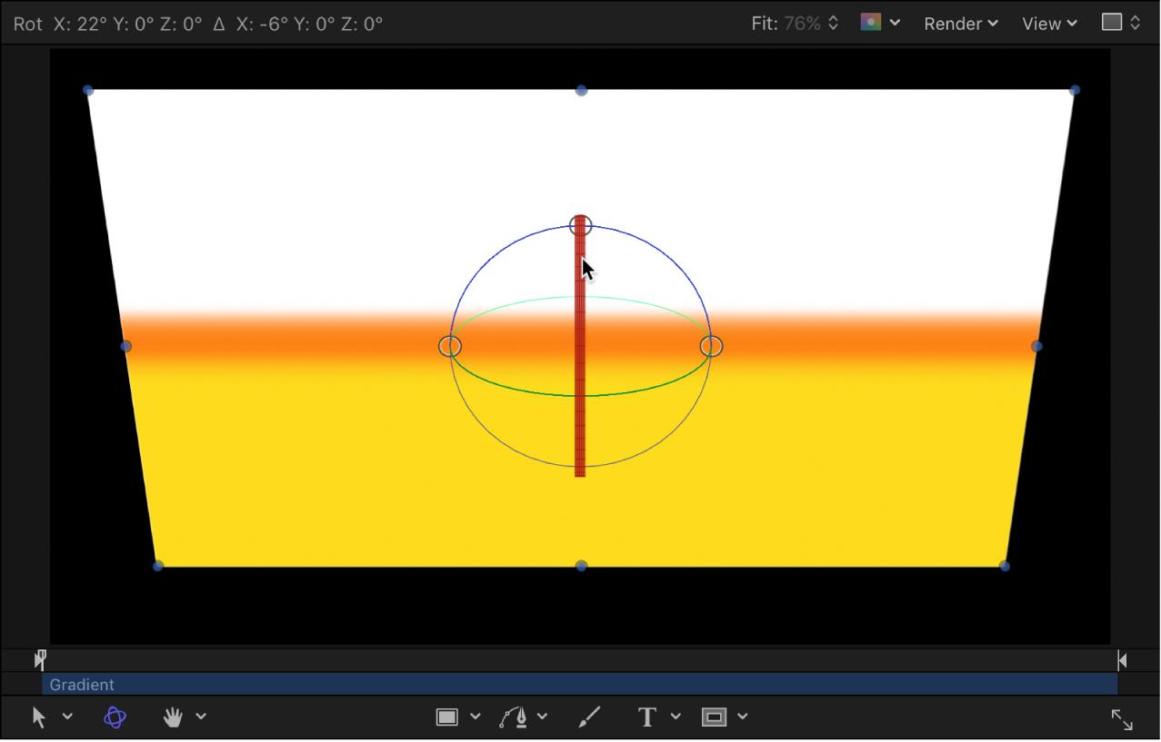 Canvas mit einem Objekt, das um die X-Achse gedreht wird
