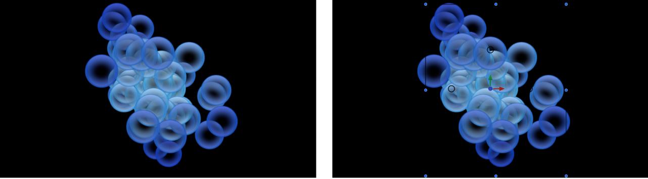 """Canvas und Informationsfenster mit einem Partikelsystem, das auf den Farbmodus """"Während Lebensdauer"""" eingestellt ist und bei dem der Verlauf zum Festlegen der Farben verwendet wird"""