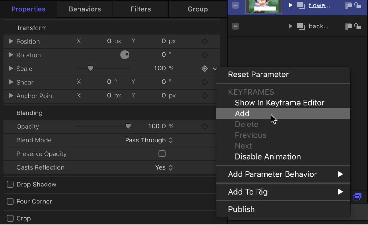 """""""Keyframe hinzufügen"""" im Animationsmenü des Informationsfensters"""