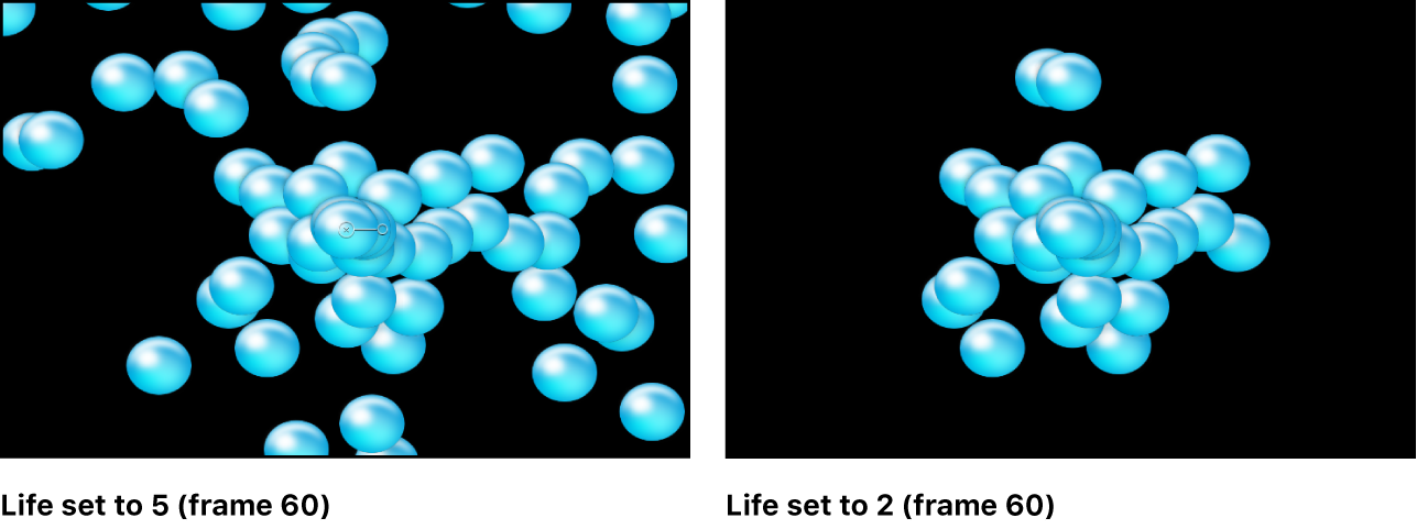 "Canvas mit dem Effekt des Parameters ""Lebensdauer"""