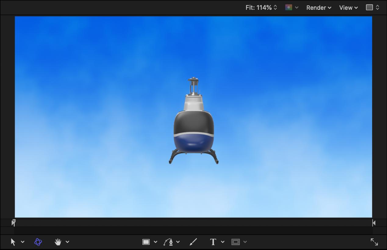 Wenn das Objekt erstmals zum Canvas hinzugefügt wird, sind die Seiten und Rotorblätter des Hubschrauberobjekts nicht sichtbar.