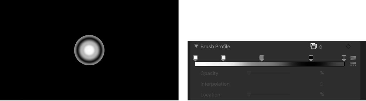 Canvas und Informationsfenster mit dem abgepassten Verlauf für das Pinselprofil