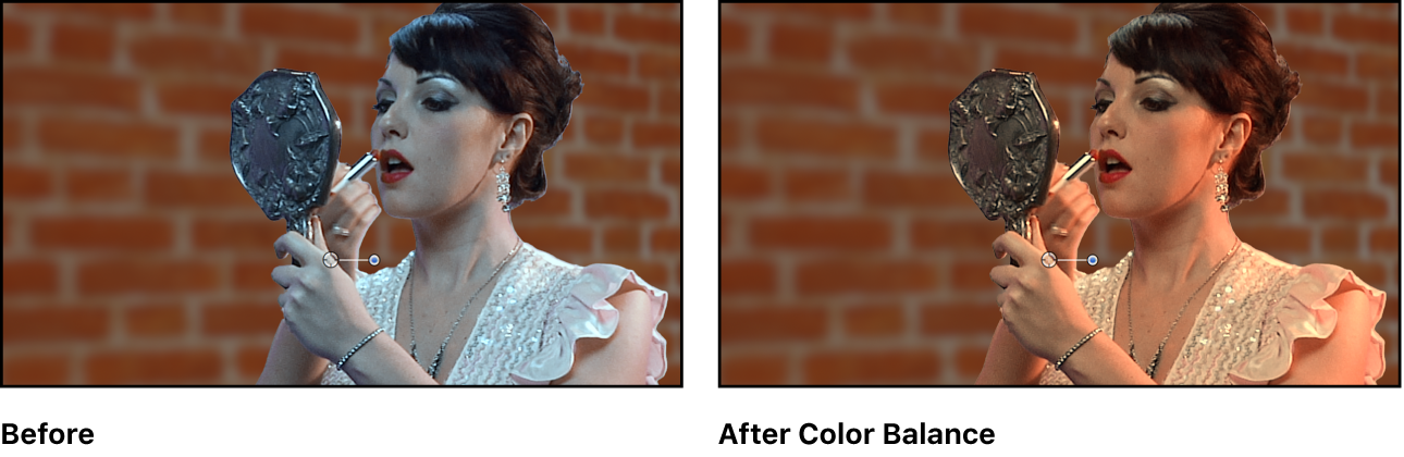 Green screen composite, before and after color correction to foreground image