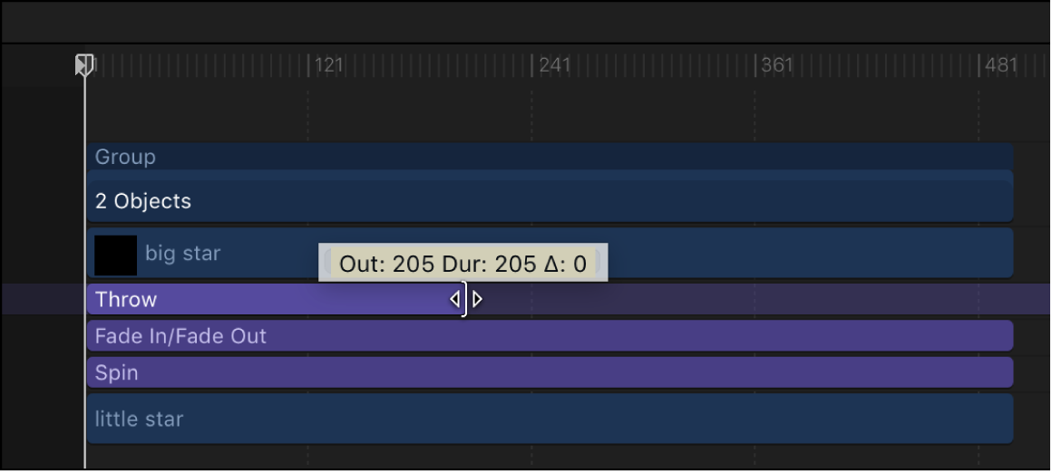 Behavior being trimmed in the Timeline