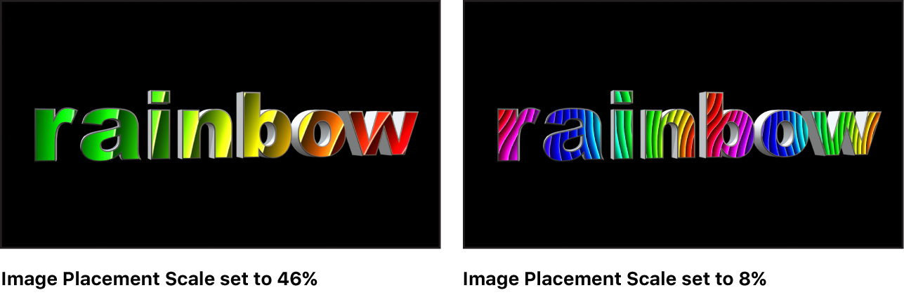Canvas showing 3D text with mapped image set to 80% scale and mapped image set to 22% scale