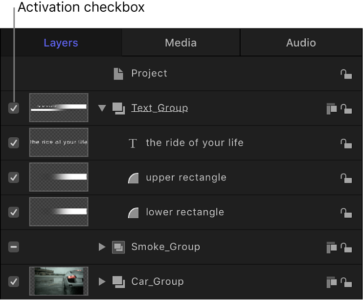 Layers list showing activation checkbox