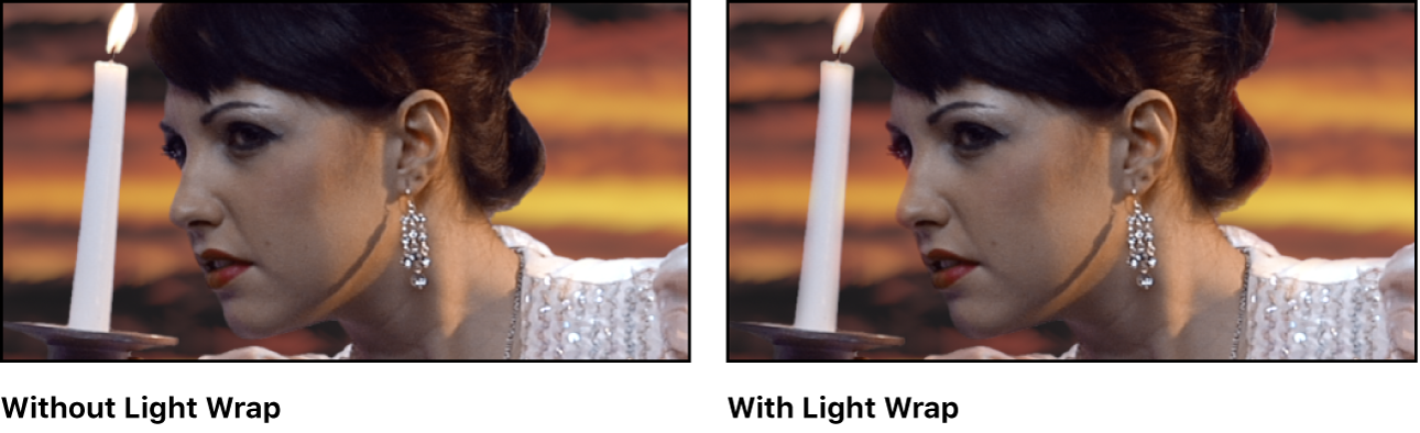 Keyed image with and without Light Wrap applied
